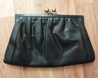 Vintage Italian Leather Black Clutch LORENZO Handbag Shoulder Bag with Chain 1950s 60s