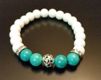 turquoise et blanc 8 mm bleu Bracelet Turquoise Howlite, Bracelet homme, Bracelet perle Womens, Bracelet en pierres précieuses, cadeaux