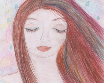 Original colored pencil drawing/ Only one available/ Anne