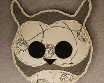 Owl Cushion, Owl Home Decor, Handmade Owl Pillow (Grey and Beige) Sherwood Owl