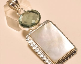 Mother Of Pearl /Aquamarine Pendant Solid Sterling Silver