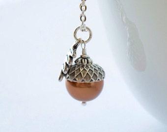 Acorn Necklace, Fall Bridesmaids Jewelry, Autumn Wedding Gift, Autumn Necklace, Fall Necklace, Oak Leaf Necklace, Woodland Necklace
