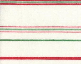 """TOWELING ~ MODA Christmas Stripe White/Red/Green (16"""" wide) ~ 920-175"""