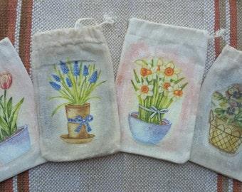 Handmade gift bags set 4pcs,  8/12 cm