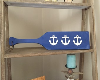 Wooden Paddle / Oar with Anchors