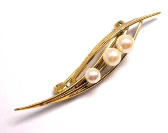 Cultured Pearl Gold Tone Vintage Brooch Pin
