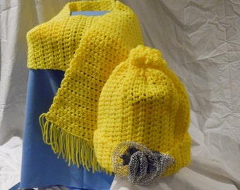 Yellow Hat and Scarf Set *Handmade* Adult