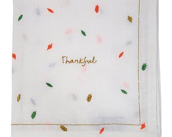 Thankful Napkins, Fall Tableware, Fall Napkins, Leaves, Thankful, Linen Napkins, Fall Dinner Party,Embroidered Napkin,Dinner Napkins,Napkins