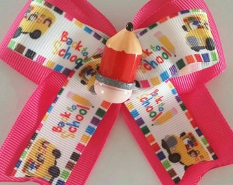 Pink back to school bow by RoselliesClosetshop