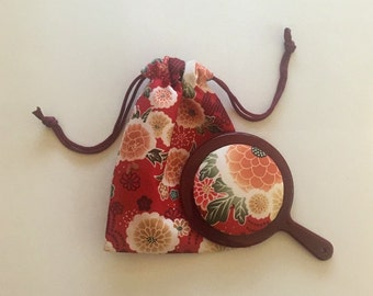 Japanese Pattern Jewerly Pouch and Mini Mirror