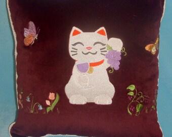 Japanese Lucky Cat Pillow