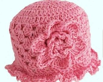 Handmade crocheted baby girls pink cotton sun hat for newborn, 0-3-6-9-12 6-12 months, knitted crochet summer brimmed bonnet with flower