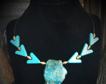 Turquoise and Chevron Necklace 092