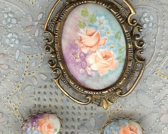 VINTAGE Hand Painted Porcelain Pin Brooch & Earrings Set
