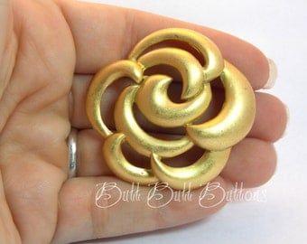 Open Rose  Dull Gold Casting  2 Shank Designer Button #CG116