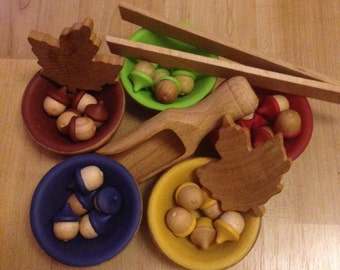 Wooden Sorting Acorns & Bowls Montessori Toys