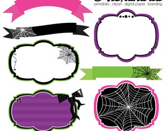 Toil and Trouble Digital Clipart Embellishments - Personal & Commercial Use - Halloween Witch Clipart, Pumpkin Graphics, Glam Images
