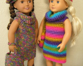 "OOAK ""Paris Bound"" Crocheted Dress, Beret and Bag for American Girl or Similar 18"" Doll, for Back-to-School,"