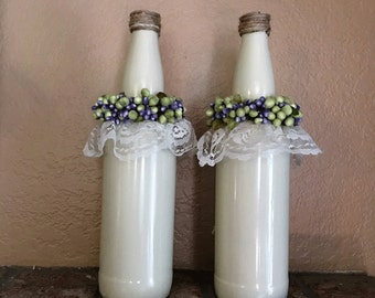 Re-purposed beer bottle vases set of 2