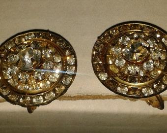Vintage Miriam Haskell Clip On Rhinestone Earrings
