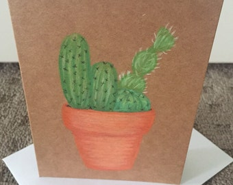 Cactus drawing greeting card