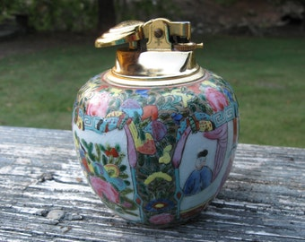 Vintage Hand Painted Table Lighter / Blank Earthenbody Lighter Made In Japan