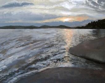 "Gloucester Painting.  ""Niles Beach.""  Print of original painting.  Sunset over Niles Beach in Gloucester, MA// Sizes- 5x7, 8x10, 11x14"