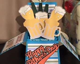 Father's day box card, father's day, pop up box card, birthday card, beer card, ale card, cards for him