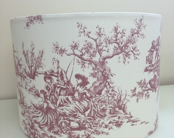 Handmade lampshade in Red Toile de Jouy fabric - counrty shabby chic classic
