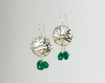 Silver jaali earrings with jade drops