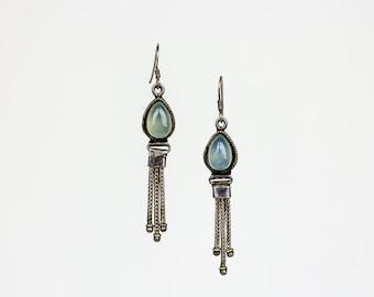 Blue moonstone oxidized silver earrings