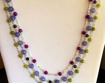 Three stand necklace in violet, periwinkle and lime