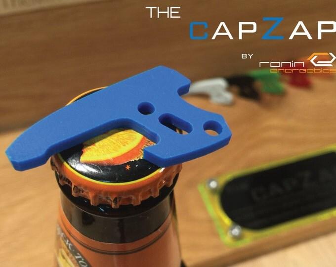 Sky Blue G10 Personalized Keyring Pistol Bottle Opener - EDC Gun Keychain Travel Tool, Star Lord, Gift for Him, Groom Gift, CapZap