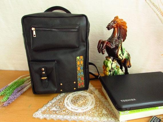 "15"" Laptop Backpack, Handmade Leather Backpack, Leather Messenger, Leather Bag, Leather Rucksack, oversize Leather Bag, large"