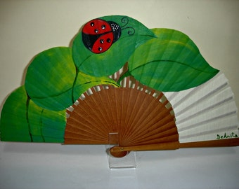 "Hand painted fan ""The red ladybird"""