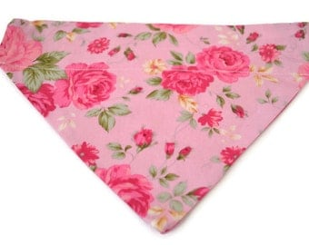 Pretty in pink reversible dog bandana~slides onto collar~washable.