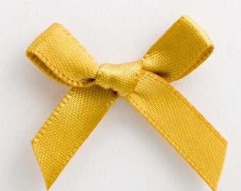 Satin Ribbon Pre Tied 3cm Bows - 100 Pack - Gold