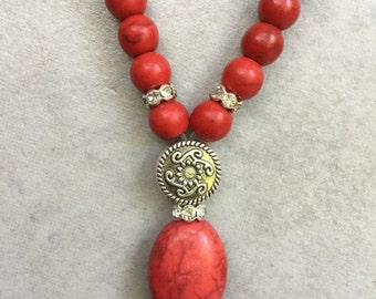 Coral, Freshwater Pearls & Red Tassel Necklace