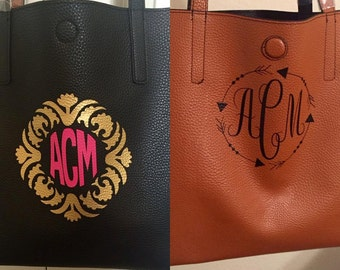 Personalized Reversible monogrammed tote/purse/bag custom