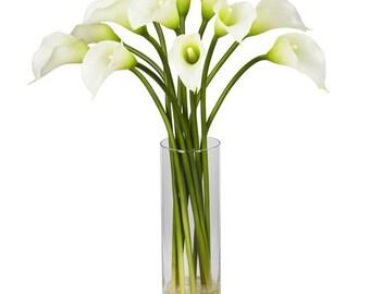 Mini Calla Lily Flower Arrangement in Cylinder Flower Vase