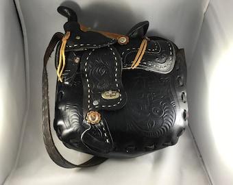 Black vintage saddle purse