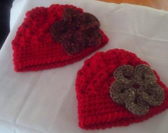 Handmade crocheted set of 2 hats