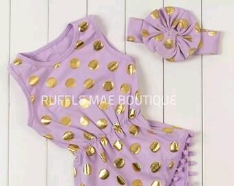 Purple Romper & Matching Headband