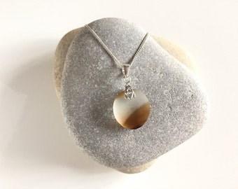 Caramel and honey swirl 'end of day' Seaham seaglass pendant