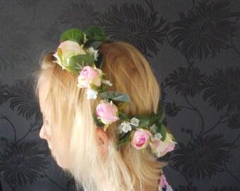boho headband flowergirl headband bridesmaid headband flower  girl crown bridesmaid crown brides head band brides  flower   crown
