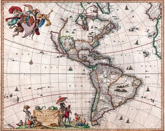 Antique Map North & South America Vintage 1658, HD Canvas Print or Art Print, Vintage Antique Artwork, Retro Wall Poster, Reproduction