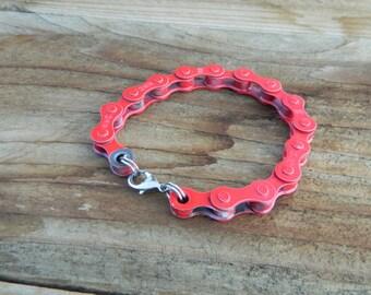 Upcycled Bike Chain Bracelet-Scarlet