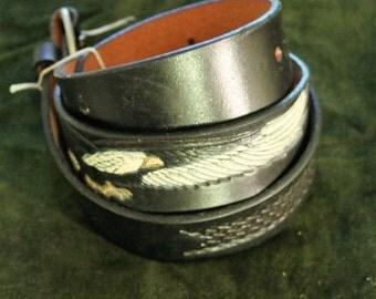 Vintage Black Leather Belt With Eagle Design, Size 42