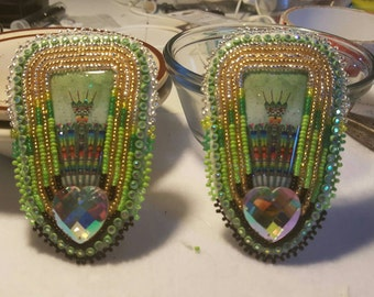 Native American made Beaded Pow wow Fan earrings