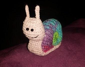 Rainbow Crocheted Snail